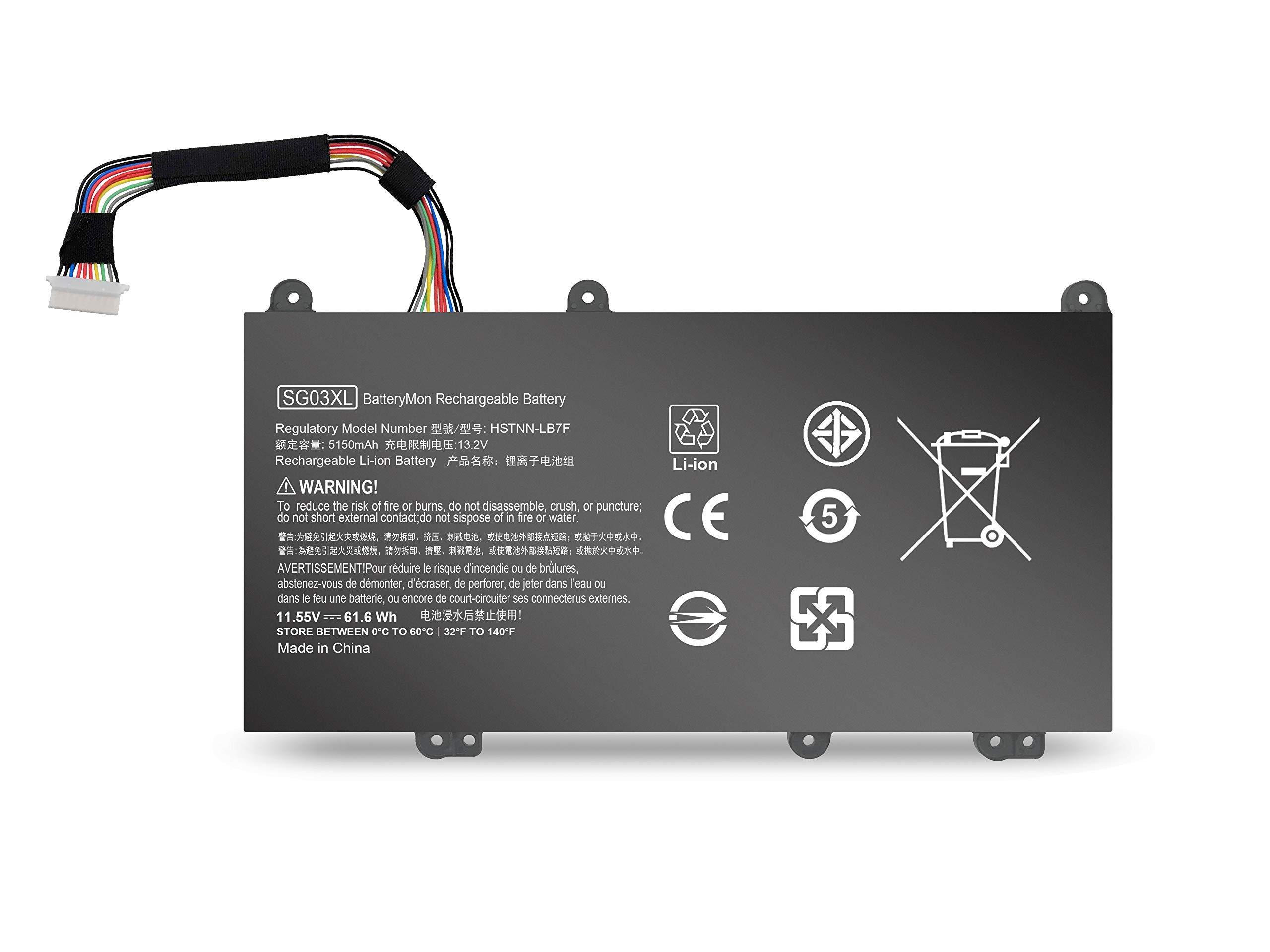 BatteryMon SG03XL Battery for HP Envy 17-U 17t-U M7-U 17-u011nr 17-u175nr 17t-u100 M7-u109dx M7-u009dx Touchscreen Laptop, P/N: SG03061XL TPN-I126 HSTNN-LB7F HSTNN-LB7E 849315-850 849049-421