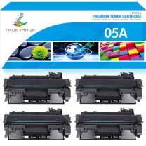 True Image Compatible Toner Cartridge Replacement for HP 05A CE505A Laserjet P2035 P2035N P2030 Laser Jet P2055DN P2055D P2050 P2055X 2055 2035 Printer (Black, 4-Pack)