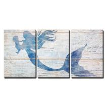 "wall26 3 Piece Canvas Wall Art - Mother Mermaid and Baby Mermaid on Rustic Wood Background (Stye 2) - Modern Home Decor Stretched and Framed Ready to Hang - 24""x36""x3 Panels"