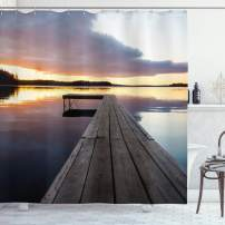 """Ambesonne Landscape Shower Curtain, Serenity Relaxing Themed Port Pier Wooden Rustic Image of Dawn Sunset in Lake Art, Cloth Fabric Bathroom Decor Set with Hooks, 84"""" Long Extra, Foggy Gray"""