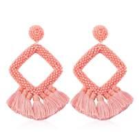 Vicision Statement Bead Tassel Earrings for Women Girl Drop Dangle Hoop Bohemian Handmade Novelty Fashion Summer Accessories