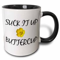 3dRose Suck It Up Buttercup Mug, 11 ounce, Black