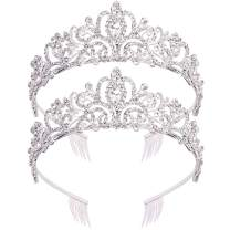 ANBALA 2 Pack Crown for Women, Tiara for Women, Princess Crowns for Women, Birthday Tiara, Wedding Tiaras, Crystal Rhinestones Tiaras with Comb for Women, Tiaras for Girls