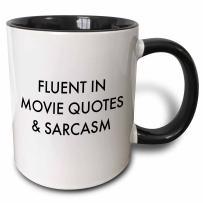 3dRose Fluent In Movie Quotes And Sarcasm Mug, 11 oz, Black