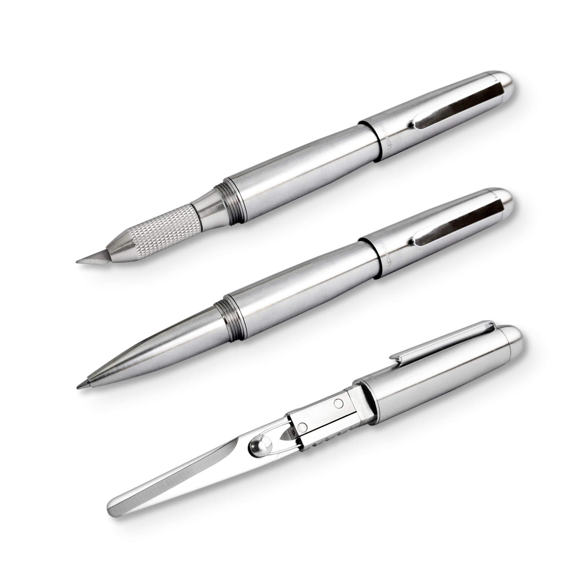 Xcissor Pen by Mininch | Multi-Tool Writing Utensil with Hidden Scissors | Optional Precision Razor Blade (Full Set, Silver)