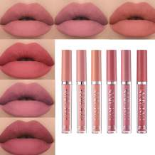 Matte Nude Liquid 6Pcs/Set Lipstick Velvety Not Fade Long Lasting and Waterproof Wear Lip Makeup Set Non-Stick Cup Moisturizer Durable Lip Gloss kit (B)