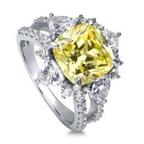 BERRICLE Rhodium Plated Sterling Silver Canary Yellow Cushion Cut Cubic Zirconia CZ Statement Halo Flower Cocktail Fashion Right Hand Split Shank Ring