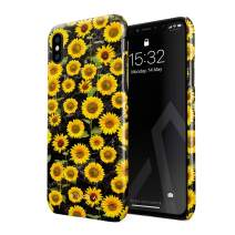 BURGA Phone Case Compatible with iPhone Xs Max - Yellow Sunflowers Vinatge Flowers Floral Print Pattern Fashion Designer Cute Case for Women Thin Design Durable Hard Plastic Protective Case