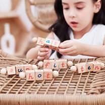 Seanmi Wooden Letter Blocks, Montessori Educational Toys for Toddlers, Manipulative Alphabet Blocks, Spinning Words Spelling Reading Stems, Learning Materials & Games for Pre-Kindergarten