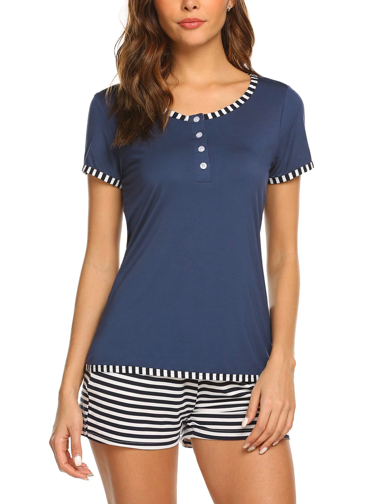 Ekouaer Women's Shorts Pajama Set Short Sleeve Cotton Sleepwear Cute Nightwear Pjs S-XXL