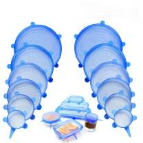 NEWBEA 12pcs Silicone Stretch Lids,12-Pack, Reusable, Durable and Expandable to Fit Various Size and Shape of Containers As Seen On TV, 12 PCS