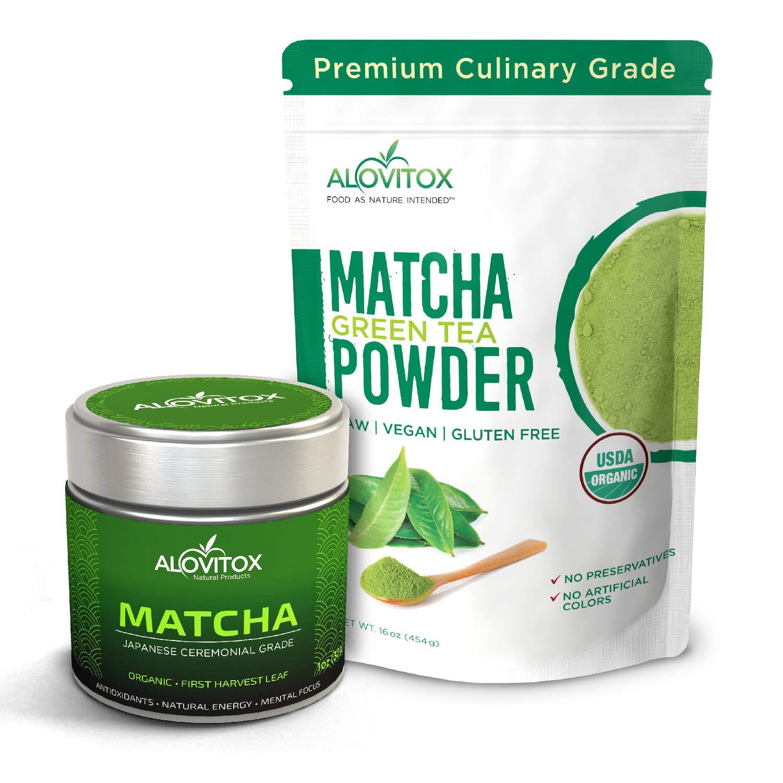 Ceremonial Grade Japanese Matcha + Culinary Grade Chinese Matcha Green Tea Powder USDA Organic, Antioxidant Rich, Energizing Powder for Tea, Lattes, Smoothies and Baking (Culinary + Ceremonial Matcha)