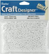 Darice 1500-Piece Round Pearl Bead, 4mm, White