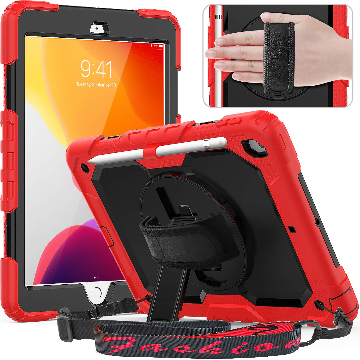 timecity iPad 10.2 Case, 2019 iPad 7th Generation Case with Screen Protector Pencil Holder, 360° Rotatable Kickstand with Hand Strap Shoulder Strap, Shockproof Anti Scratch iPad 7th Gen Case, Red
