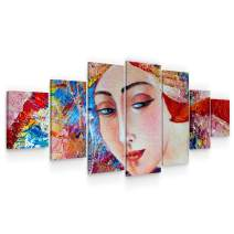 Startonight Large Canvas Wall Art Abstract - Eva Woman, Innocent Face - Huge Framed Modern Set of 7 Panels 40 x 95 Inches