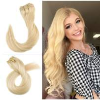 Munx 18 Inch Clip in 100% Human Hair Extensions Double Weft 100% Real Hair Extension Thick and Healthy Straight #60 Platinum Blonde Clip on Human Hair Extension 7 Pieces 120G For White and Black Women