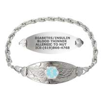 Divoti Custom Engraved Medical Alert Bracelets for Women, Stainless Steel Medical Bracelet, Medical ID Bracelet w/Free Engraving – Angel Wing Tag w/Rope – Color/Size
