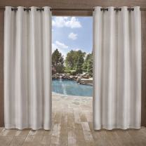 Exclusive Home Curtains Delano Heavyweight Textured Indoor/Outdoor Grommet Top Curtain Panel Pair, 54x96, Silver, 2 Piece
