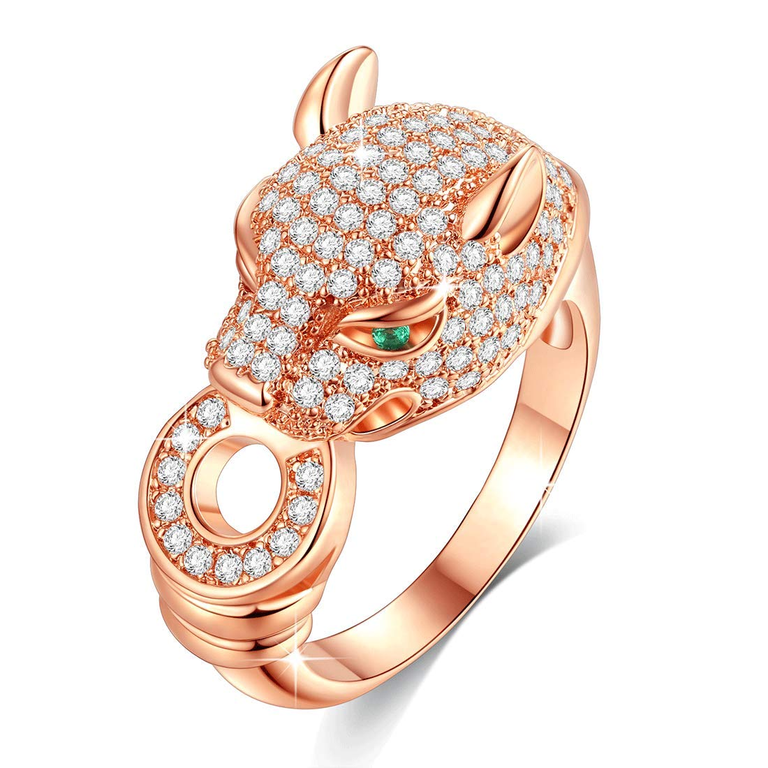 VICISION 2019 3 Color Statement Panther Ring Gold Plated 5A Cubic Zirconia for Women Fine Fashion Jewelry Accessories