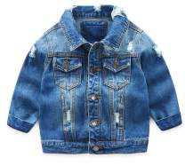 MaxKids Toddler & Kids Boys Basic Ripped Denim Jacket Button Down Jeans Jacket Top