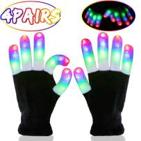 iGeeKid 4 Pairs LED Gloves Light Up Rave Gloves LED Flashing Glow Gloves Birthday Raves School New Year Party Novelty Toys Gift