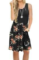 TODOLOR Women's Casual Summer Tank Sleeveless Knee Length Pleated Midi Vest Sun Dresses with Pockets