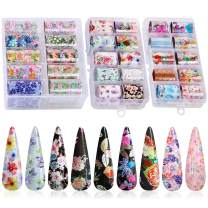 30 Color Nail Foil Transfer Sticker, Kissbuty Holographic Flower Nail Art Stickers Tips Wraps Foil Transfer Adhesive Glitters Acrylic DIY Nail Decoration, 3 Boxes (Starry Flowers Roses)