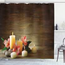 """Ambesonne Spa Shower Curtain, Spa Composition with Many Candles Wellbeing Unity Neutrality Calm Happiness Theme, Cloth Fabric Bathroom Decor Set with Hooks, 75"""" Long, Brown Yellow"""