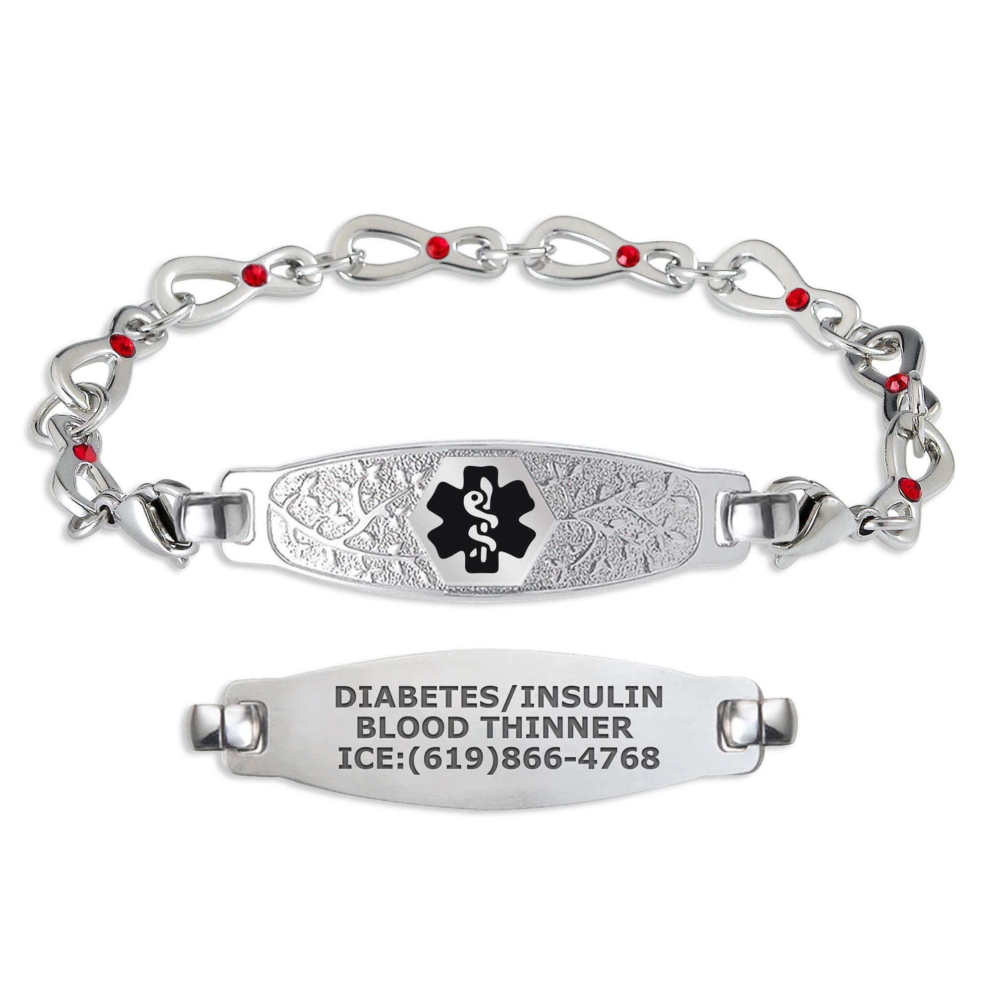 Divoti Custom Engraved Medical Alert Bracelets for Women, Stainless Steel Medical Bracelet, Medical ID Bracelet w/Free Engraving – Beautiful Olive Tag w/Infinity Rose Crystal – Color/Size