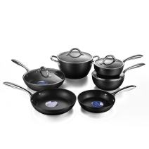 cooper pan Diamond-Infused Nonstick Induction Safe Cookware Set, Scratch-Resistant Pots and Pans Set with Glass Lids, 10 Piece, Black