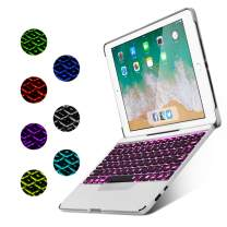 iPad 9.7 Case with Keyboard [Detachable] for iPad 2018 (6th Gen) / iPad 2017 (5th Gen) / iPad Pro 9.7 / iPad Air 2 & 1 - Fully Protective Smart Cover, Wireless Bluetooth Keyboard [Backlit] (Silver)