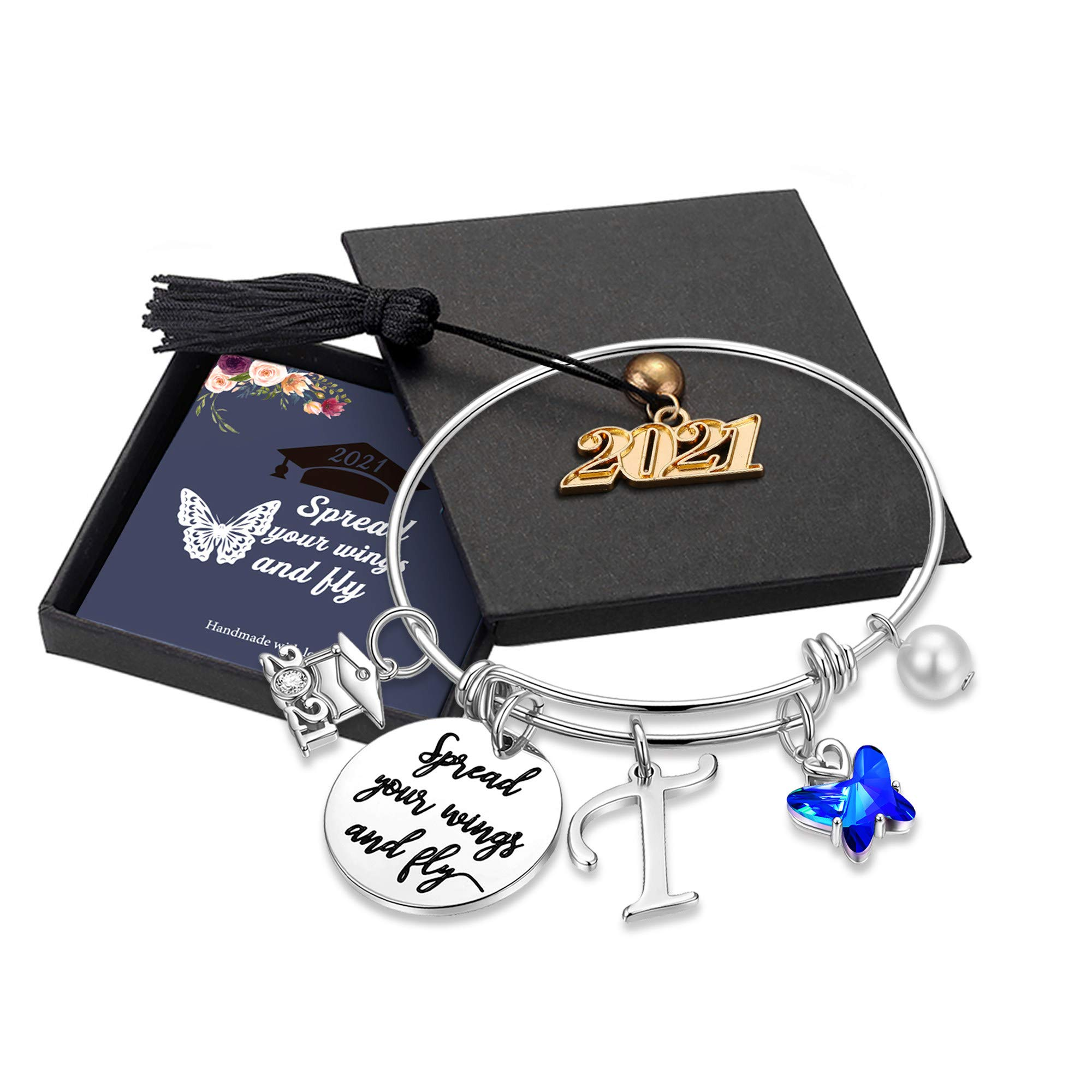 Inspirational Graduation Gifts Butterfly Bracelet, Engraved Inspirational Bangle with 2021 Graduation Grad Cap Mantra Quote Spread Your Wings And Fly Charm Bracelet Graduation Friendship Gifts for Her