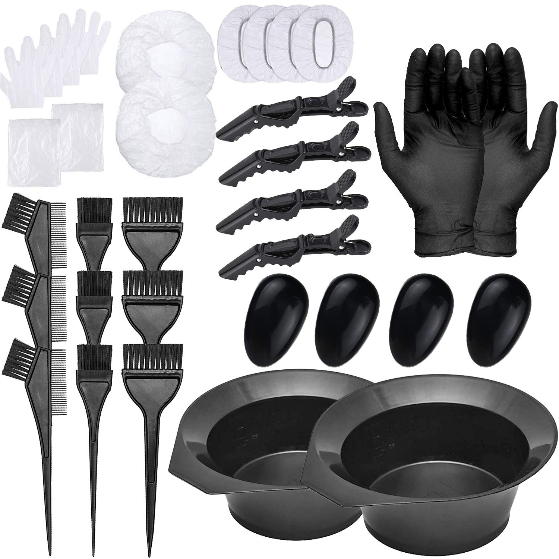 30 PCS Hair Dye Color Kit, Hair Tinting Bowl, Dye Brush, Ear Cover, Cape, Disposable Gloves for Salon Hair Dye Home Use Coloring DIY Bleaching Hair Dryers (30PCS)