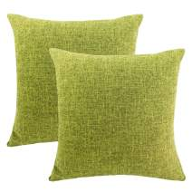 LINENLUX 2 Pack Burlap Decorative Pillow Covers Lined Linen Pillowcases Sham for Sofa Living Room (Grass Green, 18 x 18 Inch)