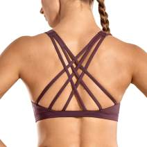 CRZ YOGA Women's Strappy Sports Bra Full Coverage Padded Full Size Supportive Cute Workout Yoga Bra Tops Sexy Back