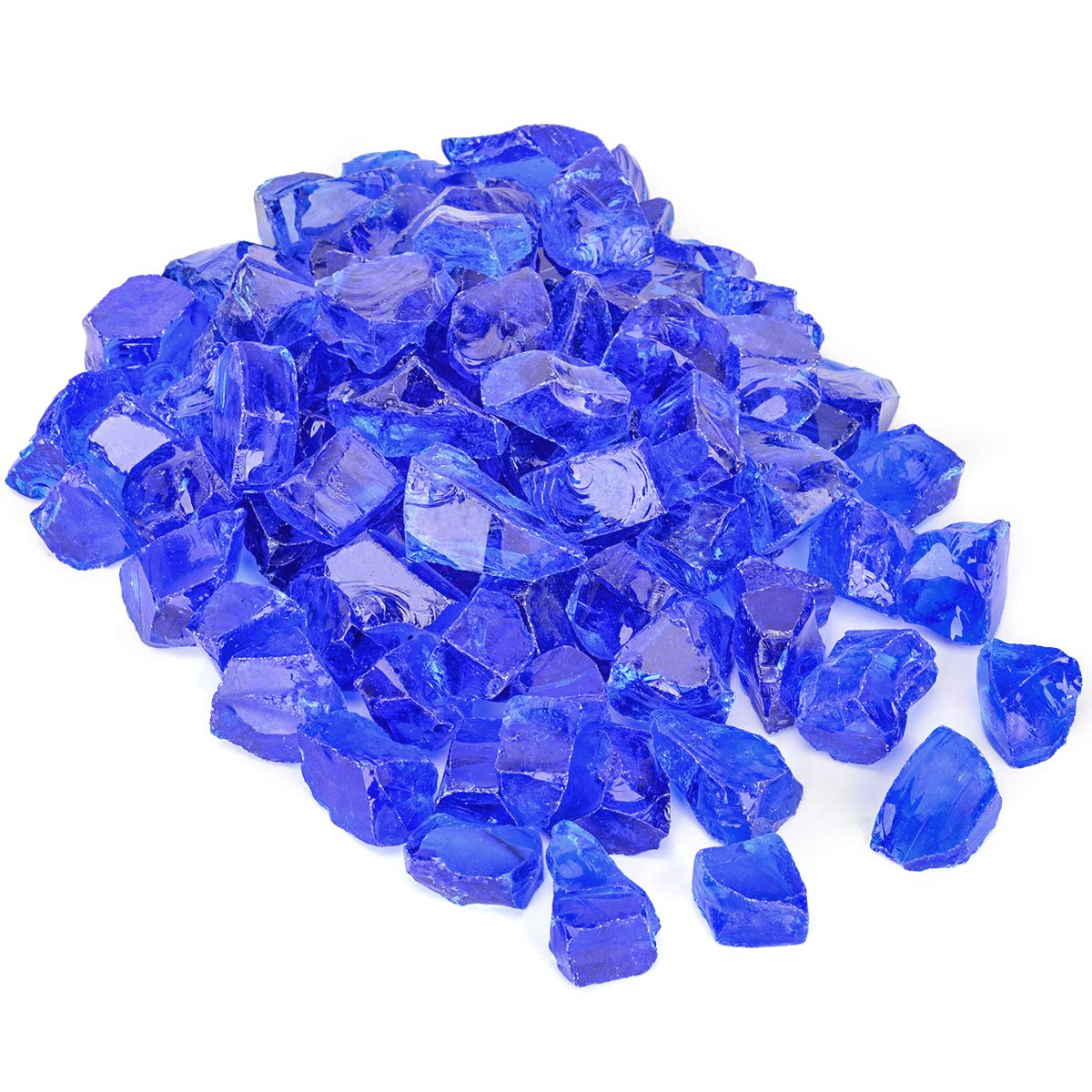 Mr. Fireglass Recycled Fire Glass for Natural or Propane Fire Pit Fireplace Gas Log Sets, 10 Pounds, Cobalt Blue