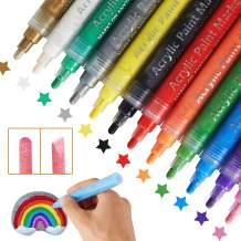Acrylic Paint Pens Set with Reverse Tips and Water Based Markers for Rock Stone Ceramic Glass Wood Fabric Canvas Children Day Gift Set of 12 Colors