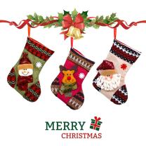 IC ICLOVER Classic Christmas Stockings Stock for Kids, Set of 3 Cute Santa Snowman Elk Socks Xmas Candy Gift Bag Hanger Ornament Collection Decoration Christmas Xmas Tree Festival