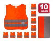 SAFE HANDLER Child Reflective Safety Vest | Lightweight and breathable, bright colors for child public safety, 100% polyester, Orange, Medium, 10 PACK
