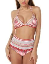 Women's Mesh Striped High Waist Bikini Set Cute Tassel Trim Top Adjustable Halter Straps Swimsuit