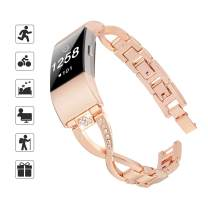 TOMALL Metal Bands Compatible for Fitbit Charge 2,Stainless Steel Metal Replacement Wristband for Women Men (Small-Large, Rose Gold)