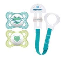 "MAM Pacifier and MAM Pacifier Clip Value Pack (2 Pacifiers & 1 Clip), Pacifiers 0-6 Months, Baby Boy Pacifier ""I Love Mommy"" Design, Baby Pacifier Clips, Designs May Vary"
