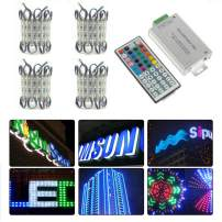 VIPMOON RGB Storefront Lights, 4Pack/80Pcs/240LED Waterproof Window Lights for Letter Sign Advertising Signs LED Light Module with 44key Remote Controller