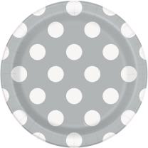 Unique Industries, Polka Dot Cake Paper Plates, 8 Pieces - Silver