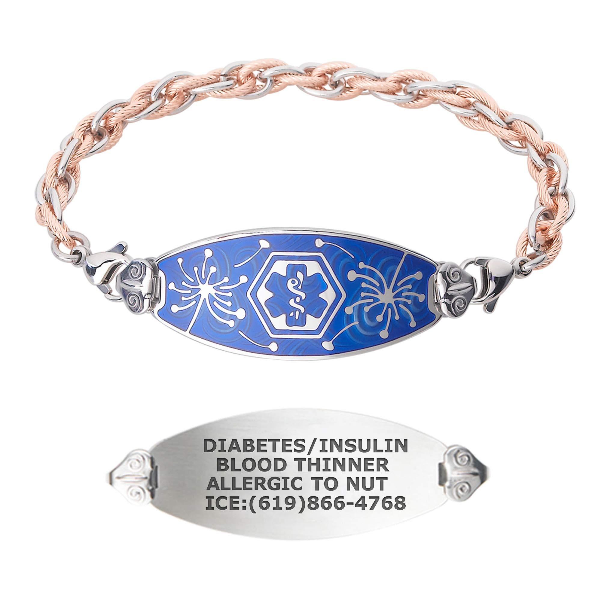 Divoti Custom Engraved Medical Alert Bracelets for Women, Stainless Steel Medical Bracelet, Medical ID Bracelet w/Free Engraving – Wishful Dandelion Tag w/Inter-Mesh Rose Gold/Silver – Color/Size