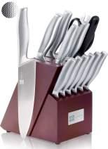 T.J Koch Knife Set Stainless Steel Knives Premium Non-slip Single Piece with Dark Cherry Wooden Block Kitchen Scissors Sharpener Rod 14-piece