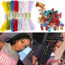 BECUS 8M 8 Colors 16 Pieces Hair Accessory String Braiding Colorful Rope and Metal Hair Cuffs for Hip-hop Hair Accessories