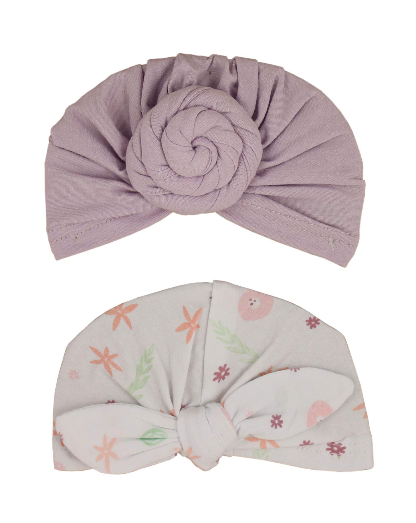 Lila & Jack Baby Girl Headband Bows - Pretty Polyester Head Piece Head wrap Bow Knot - Stretchy and soft for newborns and toddlers… (Purple Flower Turban Set)