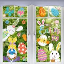 CDLong 101 PCS Easter Window Clings Decor,Extra Large Gnome Bunny Stickers Egg Chick Carrot Flower Window Decals,for Spring Kids School Home Kitchen Office Fridge Decorations Party Supplies