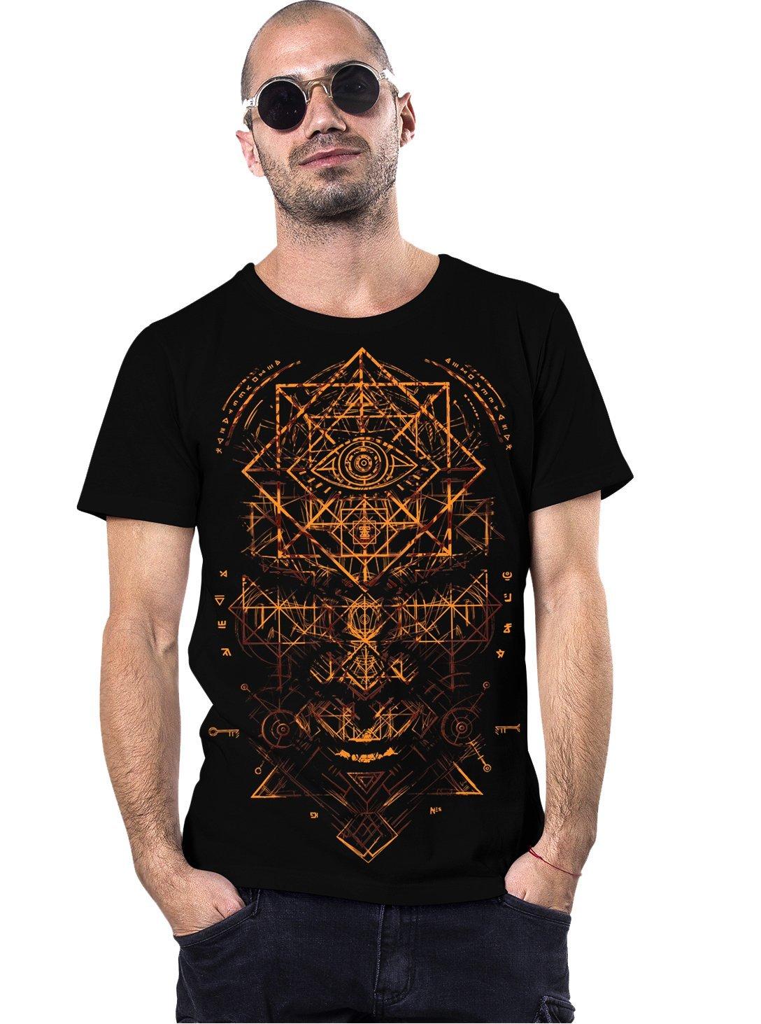 True Illuminati Crew Neck Men's Top - Exclusive Artwork - Print Cotton T-Shirt